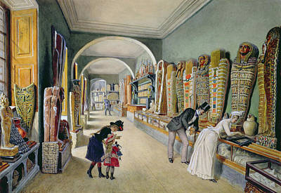 The Corridor And The Last Cabinet Of The Egyptian Collection In The Ambraser Collection Print by Carl Goebel
