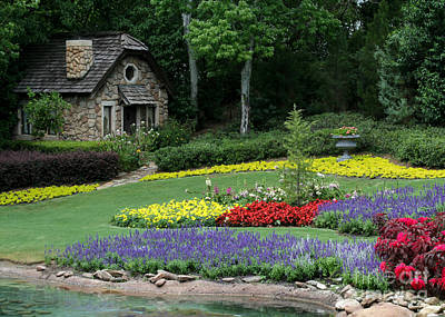 The Cottage And The Garden By The Pond Print by Sabrina L Ryan