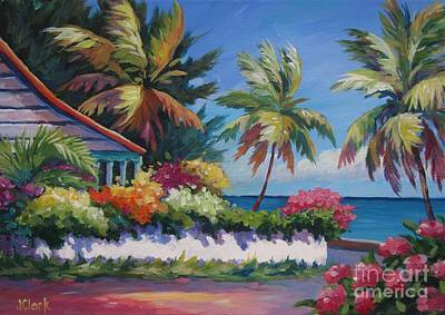 Bougainvillea Painting - The Cottage On The Corner by John Clark