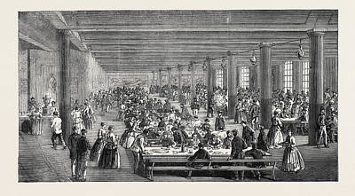 The Cotton Famine Working Mens Dining Hall Gaythorn Cooking Print by English School
