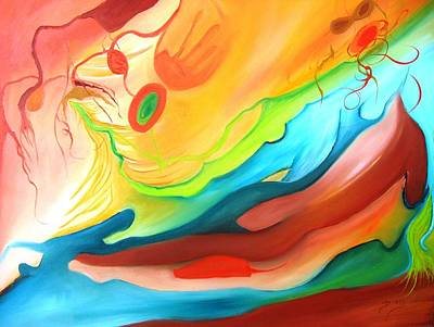 Surrealistic Painting - The Couple In Heaven by Doris Cohen