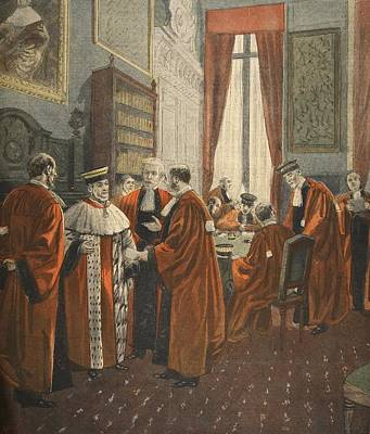 Regalia Drawing - The Court Of Appeal During The Zola by Fortune Louis Meaulle