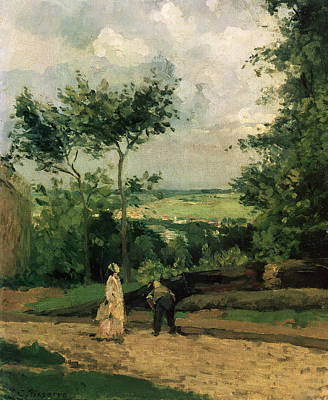 Tall Tree Painting - The Courtyard At Louveciennes by Camille Pissarro