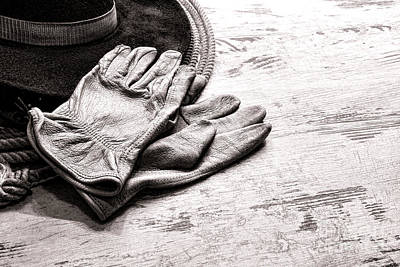 Old Plank Tables Photograph - The Cowboy Gloves by Olivier Le Queinec
