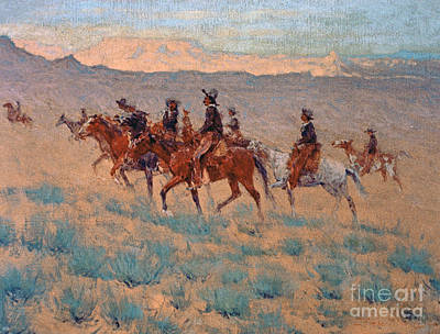 Remington Painting - The Cowpunchers by Frederic Remington
