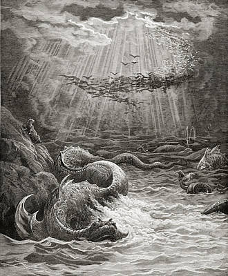 The Creation Of Fish And Birds Print by Gustave Dore