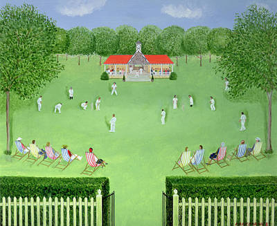 The Cricket Match, 1981 Oil On Board Print by Mark Baring