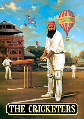Father Painting - The Cricketers by Peter Green