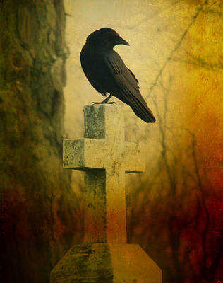 The Crow's Cross Print by Gothicolors Donna
