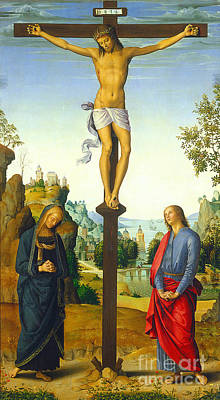 Grief Painting - The Crucifixion With The Virgin Saint John Saint Jerome And Saint Mary Magdalene by Pietro Perugino