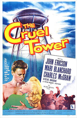 1950s Movies Photograph - The Cruel Tower, Us Poster, From Left by Everett
