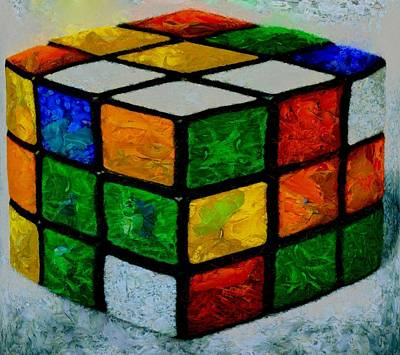 Red Cube Painting - Rubik's Cube by Dan Sproul