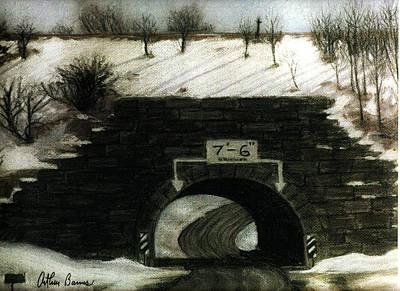 The Culvert Tunnel In Snow Print by Arthur Barnes
