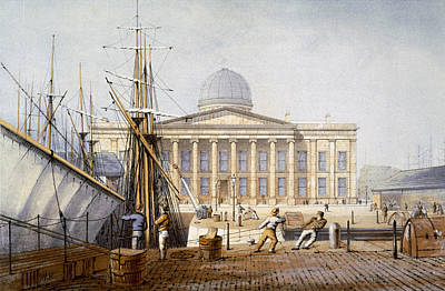 Dock Drawing - The Customs House And Revenue Building by William Gavin Herdman