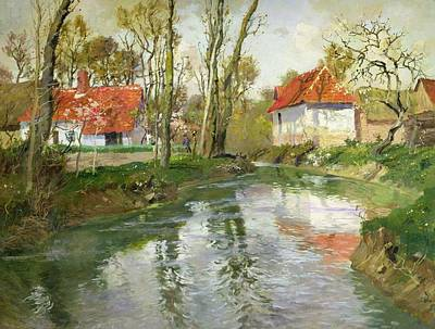 Hometown Painting - The Dairy At Quimperle by Fritz Thaulow