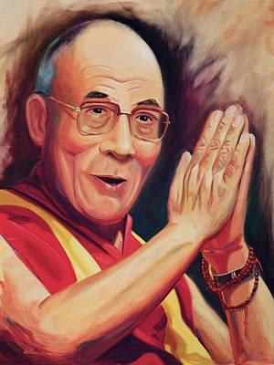 Tibet Painting - The Dalai Lama by Steve Simon