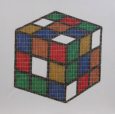 Rubiks Cube Painting - The Dammed Cube by Gary Hogben