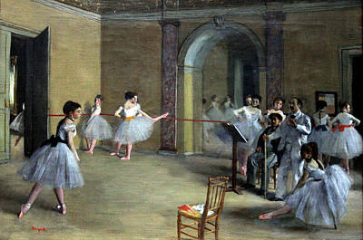 The Dance Foyer At The Opera On The Rue Le Peletier Print by Georgia Fowler