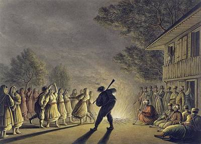 Wooden Houses Drawing - The Dance Of The Bulgarian Peasants by Luigi Mayer