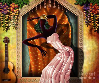 Acoustic Guitar Digital Art - The Dancer V1 by Bedros Awak