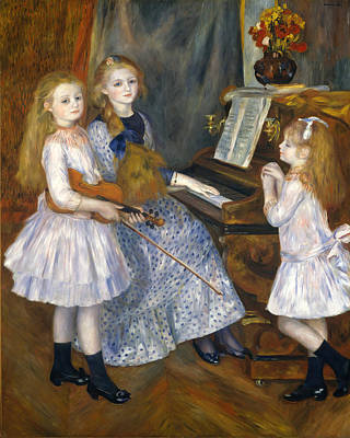Pierre-auguste Renoir Painting - The Daughters Of Catulle Mendes. Huguette Claudine And Helyonne by Pierre-Auguste Renoir