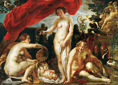 Jacob Jordaens Painting - The Daughters Of Cecrops Finding Erichthonius by Jacob Jordaens