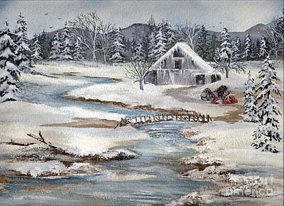 Old Barn Painting - The Day After Christmas Plus A Children's Story by Meldra Driscoll