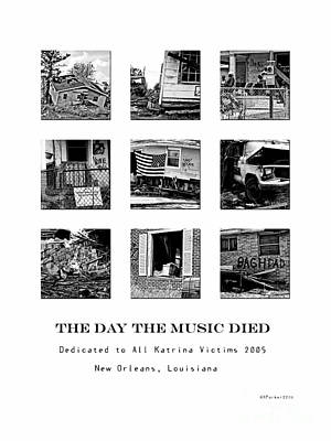 Kathleen Digital Art - The Day The Music Died Black And White by Kathleen K Parker