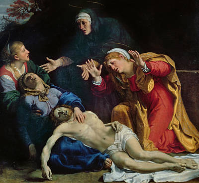 New Testament Painting - The Dead Christ Mourned  by Annibale Carracci