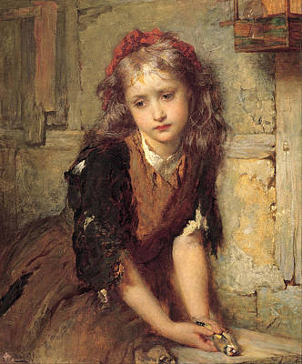 George Elgar Hicks Painting - The Dead Goldfinch by George Elgar Hicks