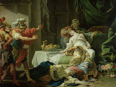 The Death Of Cleopatra, 1755 Oil On Canvas Print by Louis Jean Francois I Lagrenee