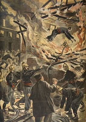 Falling Drawing - The Death Of Fireman Bailly In Bourges by F.L. & Tofani, Oswaldo Meaulle