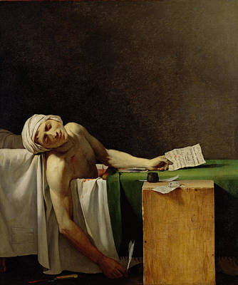 The Death Of Marat, After The Original By Jacques-louis David 1748-1825 Oil On Canvas Print by Jerome Martin Langlois