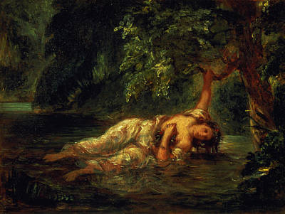 Fallen Leaf On Water Painting - The Death Of Ophelia, 1844 by Ferdinand Victor Eugene Delacroix