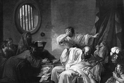 Window Drawing - The Death Of Socrates by Jacques Philippe Joseph de Saint-Quentin