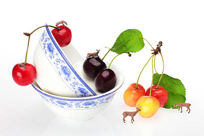 The Deers Among Cherries And Blue-and-white China Miniature Art Print by Paul Ge