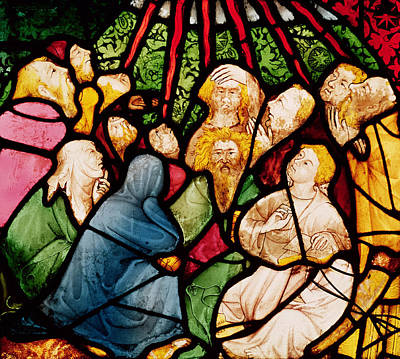 Pentecost Photograph - The Descent Of The Holy Spirit, C.1400 Stained Glass by French School