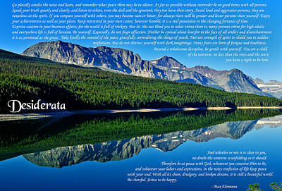 Desiderata Photograph - The Desiderata And Lake Sherburne by Greg Norrell