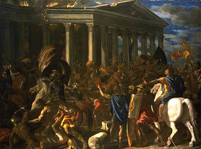 Conflict Painting - The Destruction And The Sack by Nicolas Poussin