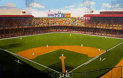 The Detroit Tigers Briggs Stadium Around 1940 Print by Dwight Goss