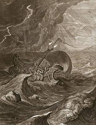 Twin Flame Drawing - The Dioscuri Protect A Ship, 1731 by Bernard Picart