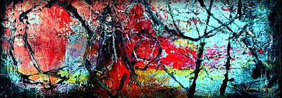 Abstracto Mixed Media - The Distance - Abstract Art By Laura Gomez - Horizontal Long Strip Format by Laura  Gomez