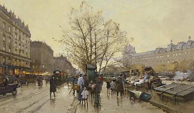 Jacques Painting - The Docks Of Paris Les Quais A Paris by Eugene Galien-Laloue