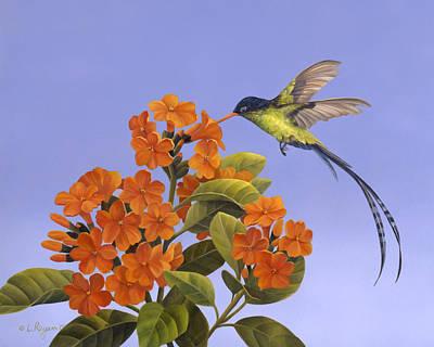 Hummingbird Painting - The Doctor Is In by Laura Regan