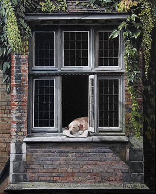 Window Painting - The Dog Of Bruges by Scot White