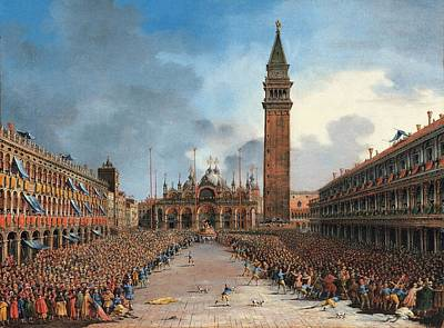 Campanile Painting - The Doge In The Pozzetto In Piazza San by Giovanni Grubacs