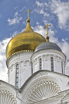 The Domes Of Archangel Cathedral Print by Elena Nosyreva