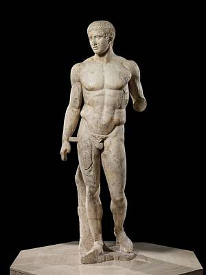 Statue Portrait Sculpture - The Doryphoros Of Polykleitos by Roman School