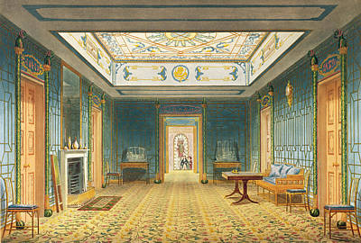 Desk Painting - The Double Lobby Or Gallery by John Nash