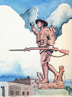 County Courthouse Statue Painting - The Doughboy Stands by Katherine Miller
